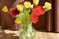 Blumenstrauß-Fruehlingsblumen-Vase-Gerbera-Tulpen